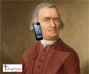 The famous portrait of Samuel Adams on his iPhone.